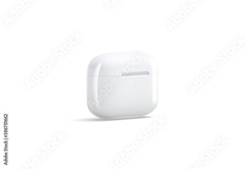 Blank white small closed headphones case mockup stand, side view