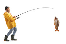 Full Length Profile Shot Of A Bearded Fisherman Catching A Big Fish