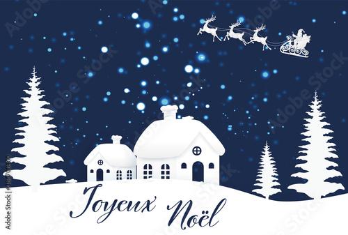 carte ou bandeau sur 'joyeux Noël en bleu avec un village sous la neige des sap Wallpaper Mural