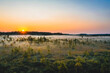Aerial view of sunrise over marshland in autumn coloured national park in Finland