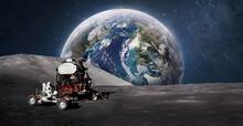 Astronaut On Moon Surface. Ear...