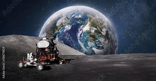 Astronaut on Moon surface Canvas Print