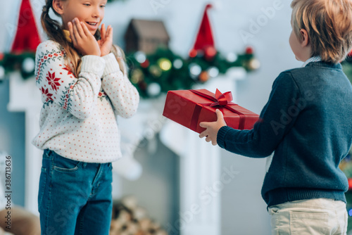 Fotografie, Obraz boy presenting christmas gift to amazed sister holding hands near face