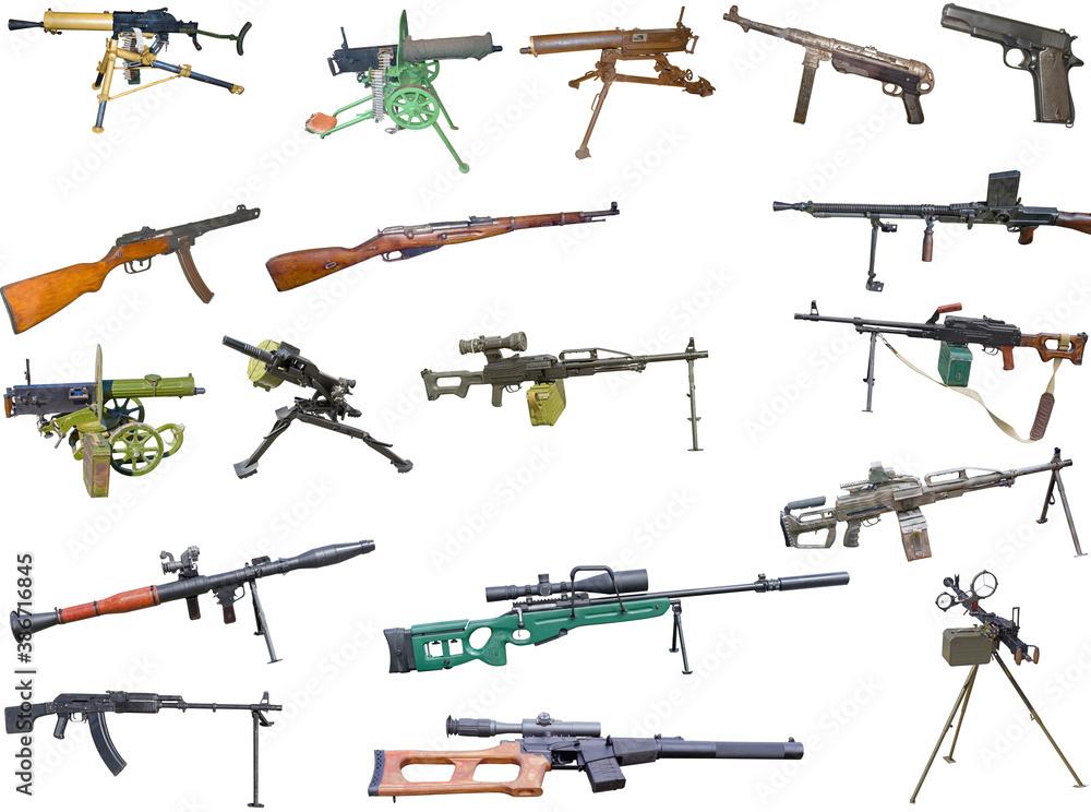 Fototapeta set of firearms weapons. pistols, rifles, machine guns