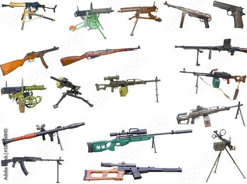Fotografia set of firearms weapons. pistols, rifles, machine guns