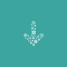 White Down Arrow Made Of Snowflakes. Vector Icon Isolated On Blue Background.