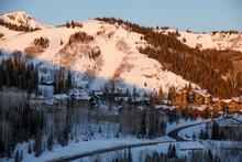Sunrise On The Ski Slopes At Deer Valley, Utah, Near Salt Lake City.