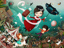 Bright Fairytale Illustration Based On  Tale Of  Cheerful Nanny Mary Poppins And Her Friends.