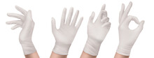 Nitrile Gloves On Hand Front And Side View. White Rubber Disposable Latex Personal Protective Equipment For Health Or Laboratory Workers, Palm Gesturing Show Ok, Realistic 3d Vector Illustration, Set