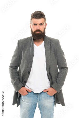 Casual outfit. Menswear and fashion concept. Man bearded hipster stylish fashionable jacket. Casual jacket perfect for any occasion. Simple and casual. Feeling comfortable in natural fabric clothes
