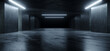 Underground Sci Fi Concrete Cement Background Dark Reflective Showroom Parking White Lights Modern Elegant 3D Rendering