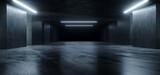Fototapeta Perspektywa 3d - Underground Sci Fi Concrete Cement Background Dark Reflective Showroom Parking White Lights Modern Elegant 3D Rendering