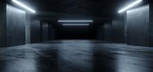 Underground Sci Fi Concrete Cement Background Dark Reflective Showroom Parking White Lights Modern Elegant 3D Rendering