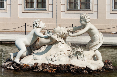 Sculptures of fountain in Lower Belvedere garden, Vienna Canvas Print