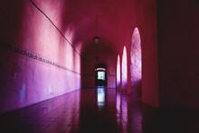 Corridor Of The Former Monestary Convent De San Bernardino De Siena In Valladolid, Yucatan, Mexico