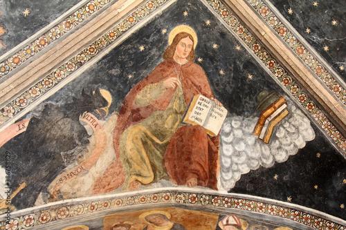 Fotografía l'Evangelista Giovanni; volta del protiro della chiesa della Natività di Maria a