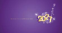 Happy New Year 2021 Modern Design With Firework White Stars Gold Purple Greeting Card Design