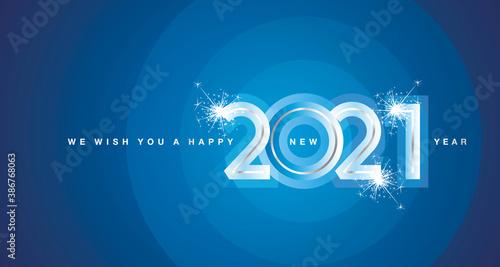 Obraz We wish You Happy New Year 2021 firework silver modern design numbers glass color shining blue aqua color greeting card - fototapety do salonu