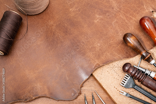 Obraz brown leather for leather working - fototapety do salonu