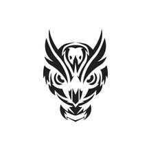 Owl Head Tribal Tattoo, Logo D...