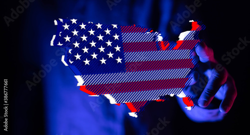 Fotografie, Obraz america map flag nation us stars and stripes