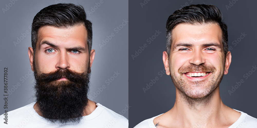Fototapeta Bearded man with long beard and mustache or handsome hipster in barbershop. Shaved vs unshaven Barber hair salon. Before and after.
