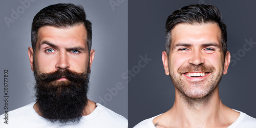 Obraz Bearded man with long beard and mustache or handsome hipster in barbershop. Shaved vs unshaven Barber hair salon. Before and after. - fototapety do salonu