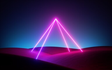 3d render, abstract pink blue neon background with glowing pyramid in the middle of the empty desert. Futuristic design with laser lines