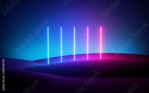 Fotografia 3d render, futuristic neon background, pink blue vertical lines glowing in the desert under the night sky