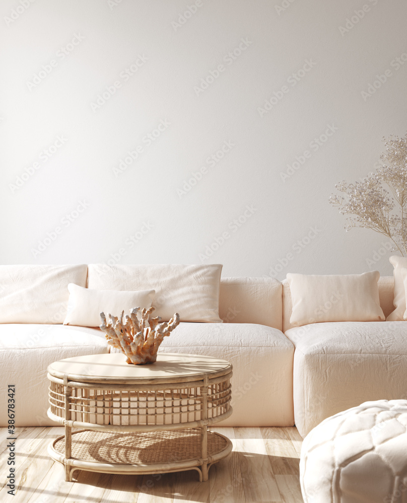 Fototapeta Modern living room interior with stylish sofa, coral on rattan table, 3d render