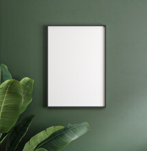 Mockup Poster Frame Close Up On Wall With Decor, 3d Render