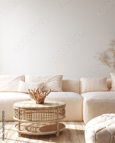 Modern living room interior with stylish sofa, coral on rattan table, 3d render - 386783421