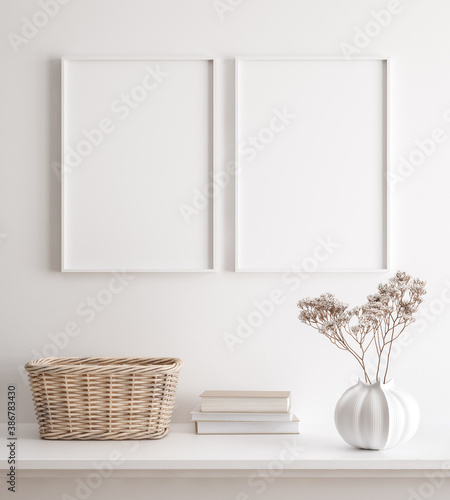 Mockup poster frame close up on wall with decor, 3d render - 386783430