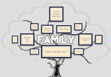 Family Frame Tree On A Cemented Wall - Stock Vector