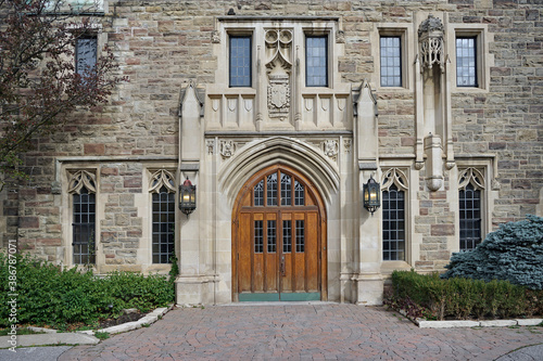 Tela entrance to a Catholic secondary in a  gothic building