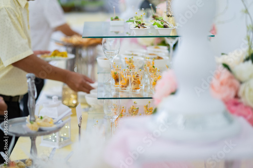 Tablou Canvas Glass shots pastry, wedding catering food, mini canapes food, tasty dessert, Bea
