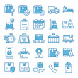 Set of Shipping icons with blue style.