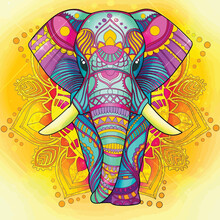 Colourful Elephant With Beautiful Background Illustration