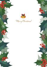 クリスマスフレーム 柊の飾り枠 左右に装飾 水彩イラスト ロゴ入り(縦長 A3・A4比率)
