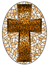 The Illustration In Stained Glass Style Painting On Religious Themes, Stained Glass Window In The Shape Of A Christian Cross, Oval Image, Tone Brown, Sepia