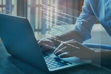 Programmer Writing Programming Code Script On Virtual Screen