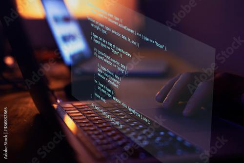 Obraz Programming code writing, software coding developing, hands typing computer script.. - fototapety do salonu