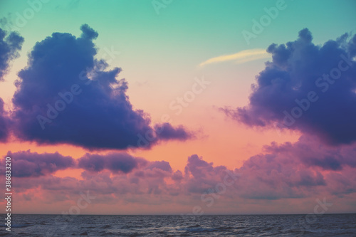 Canvas Print Seascape in the evening. Sunset over the sea with beautiful sky
