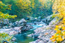 Water In A Mountain River With...