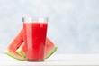 Leinwandbild Motiv Fresh and juicy watermelon smoothie