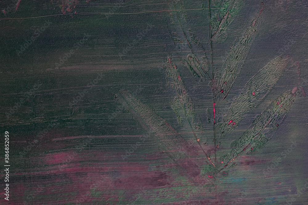 Fototapeta Odbity liść w farbie, namalowane abstrakcyjne tło, faktura.