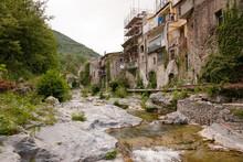 Zuccarello Architectures And Historical Bridge, Medieval Town Near Albenga, Liguria, Italy