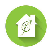 White Eco Friendly House Icon ...