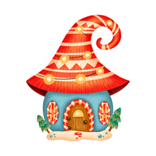 Illustration Of A Cute Cartoon Christmas Gnome House Isolated On White Background. Scandinavian Blue And Red Fairy House. Christmas Gingerbread House.
