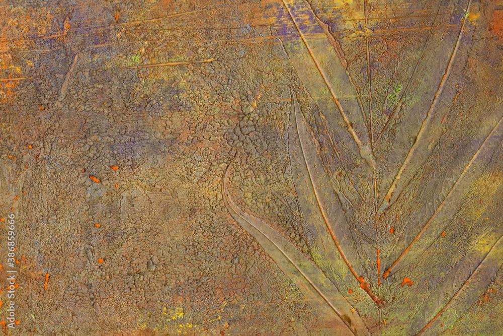 Fototapeta Odbity liść w farbie w namalowanym, wielokolorowym, abstrakcyjnym tle, faktura.
